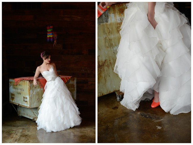 Bride standing under a pinata wearing orange shoes