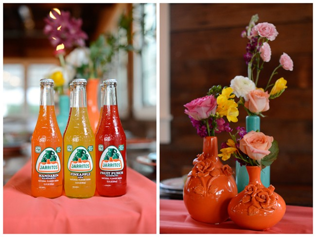 Mexican soda and colorful vases with flowers
