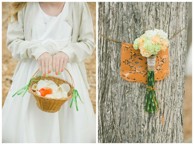 Flower girl with orange and green nail polish, Bouquet of flowers tied to a tree