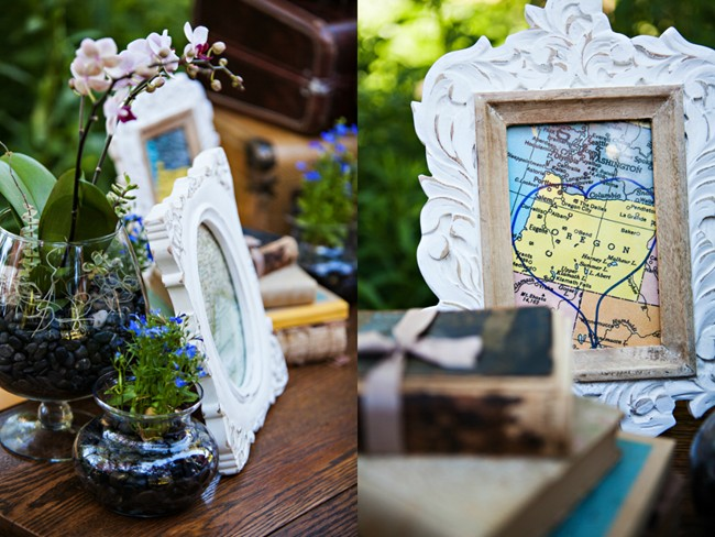 vintage books and maps in frames