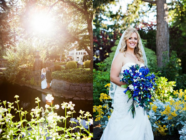 Bride carrying blue iris bouquet