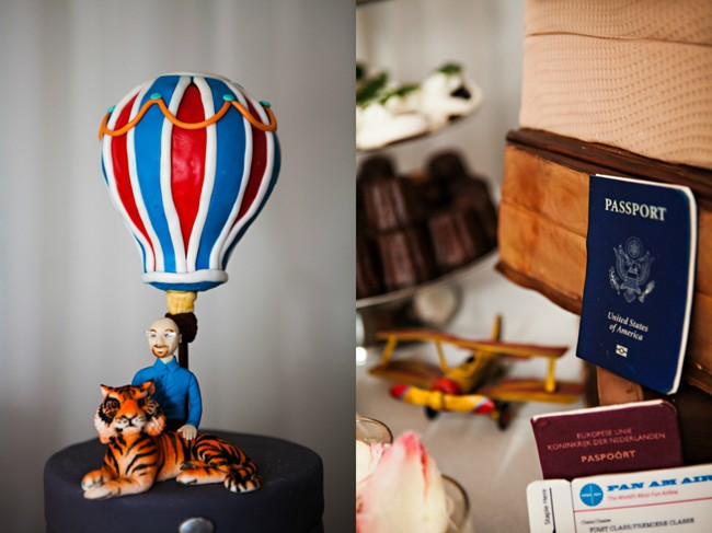 air balloon with tiger and passport on travel themed wedding cake