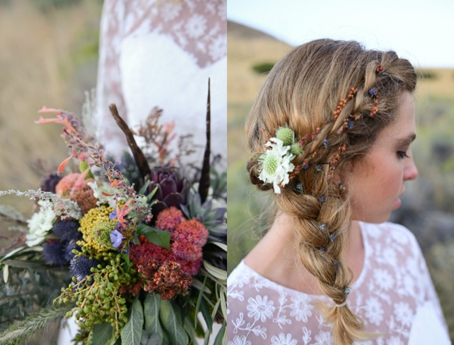 Rustic bouquet and bride with her hair in a side braide