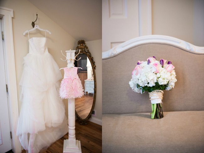Bride's dress and pink flower girl dress and white, pink and purple bridal bouquet