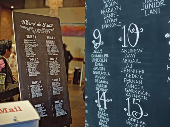 Long chalkboard with table numbers and guests names