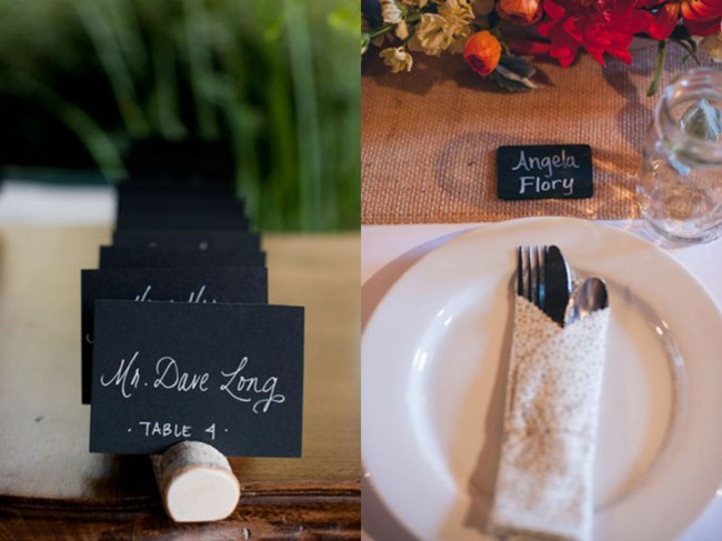 Place card chalkboard sign in a wine cork with wedding guest name