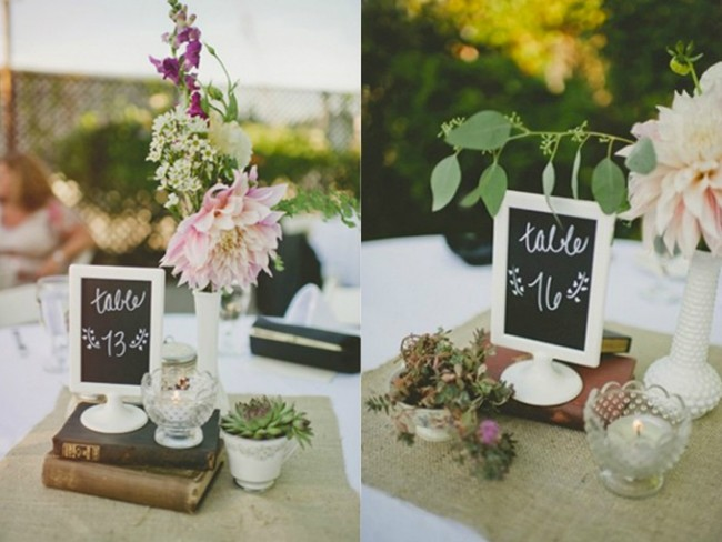 White ikea table number holder with chalkboard sign in the middle for rustic, vintage wedding reception table numbers