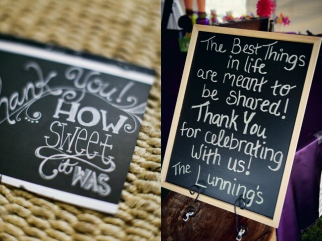 Chalkboard signs in light wood frame thanking guests for coming to your wedding