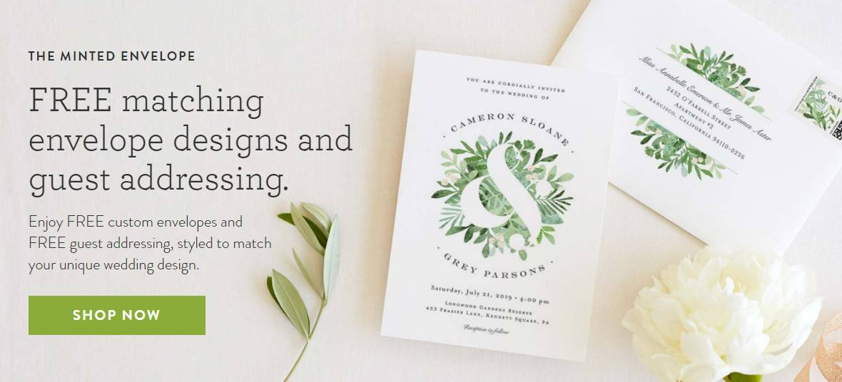 Free matching envelope design and guest addressing from Minted