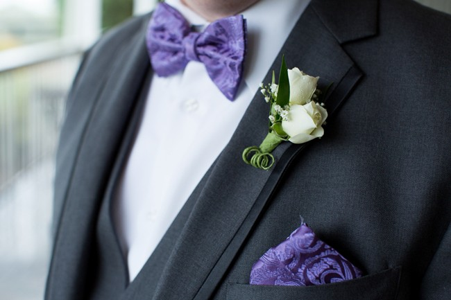 Bluemont Vineyard Wedding - Groom purple bow tie and pocket square