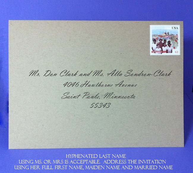 Hyphanated name - address save the dates