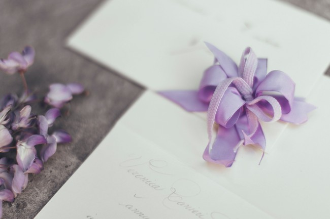 Invitations with Wisteria flowers