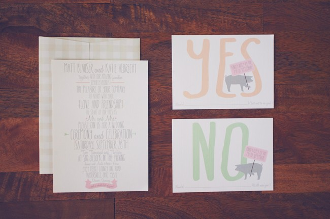 pig themed wedding invitations and RSVP