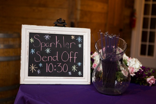 "Chalkboard sign in a white frame with ""sparkler send off"""
