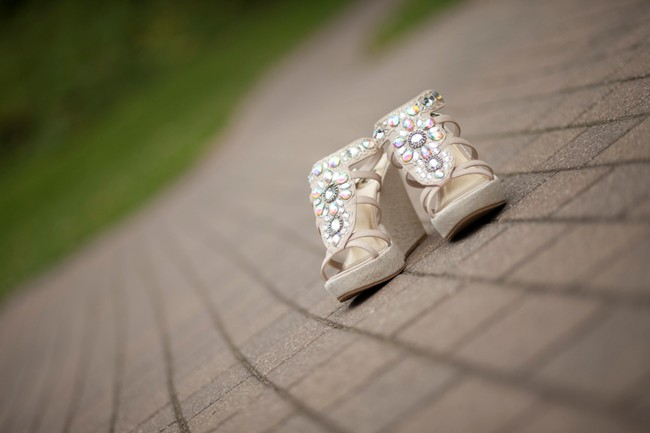Open toe high heel sandals for a bride
