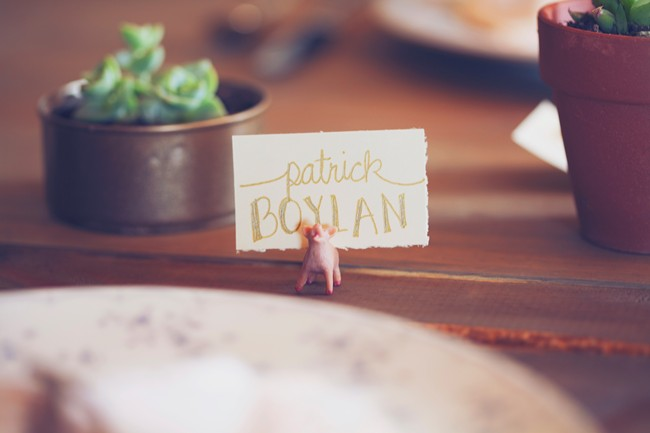 pig themed barn wedding placecard holder