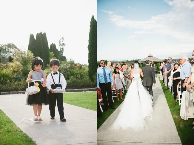 bride walking down the aisle, flower girl and ring bearer