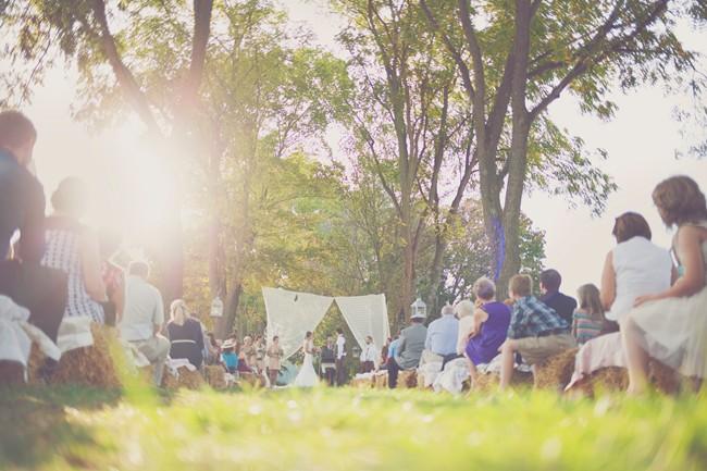 wedding ceremony outdoors at tree lined lane farm