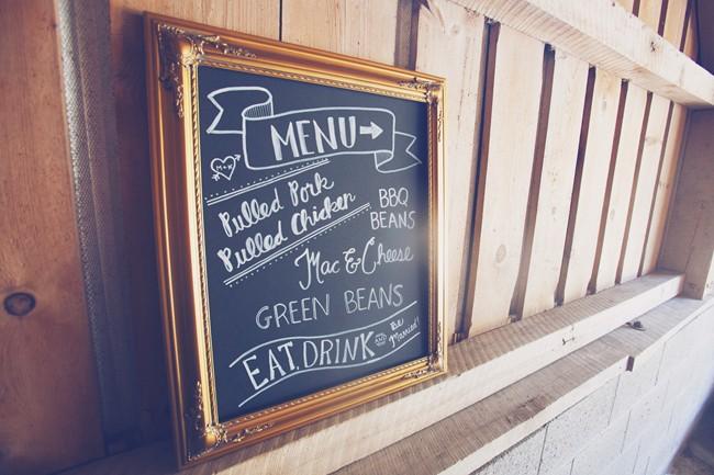 chalk board menu at wedding reception