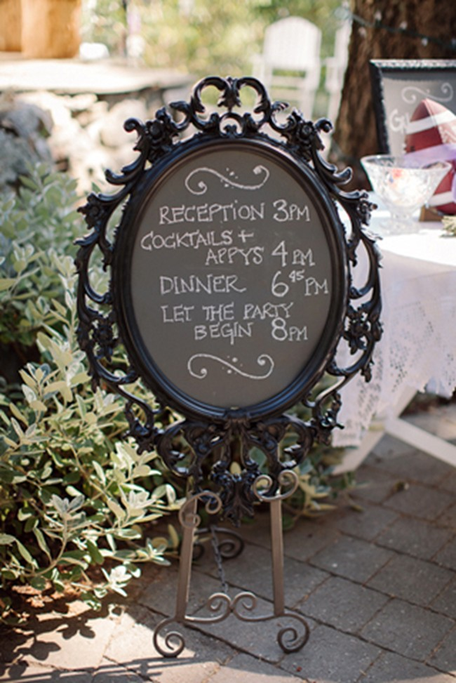 ornate frame as wedding reception chalkboard sign on easel