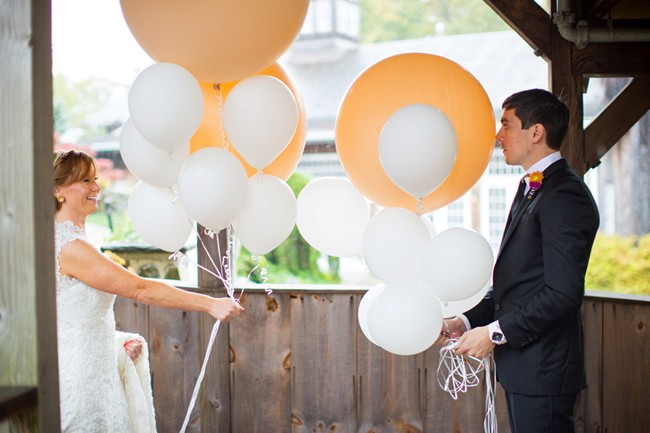 Bride and Groom first look with balloons1