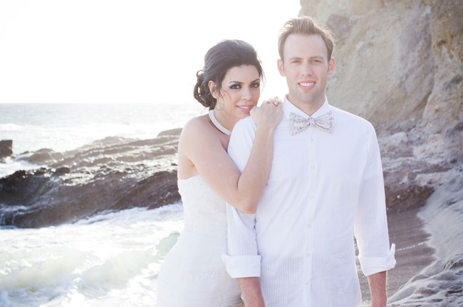 couple pose on Laguna Beach