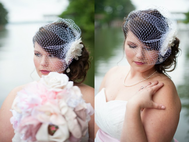 Bride posing in front of lake with DIY fabric bouquet