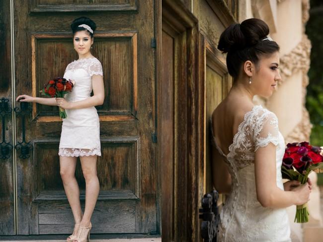Bride wearing  Iselle Design Studio standing at door  in Balboa Park