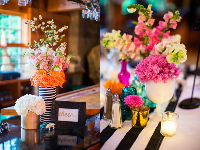 Bright color floral center pieces at wedding reception