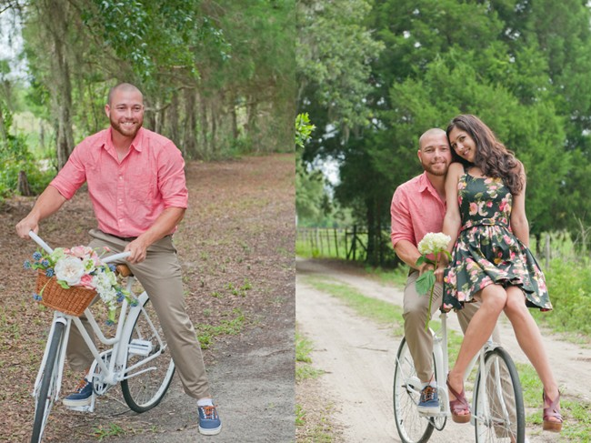 Couple riding a vintage bike