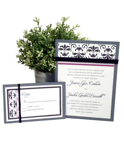 Damask wedding stationery DIY