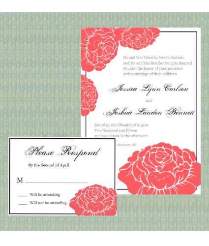 Garden Rose invite and rsvp