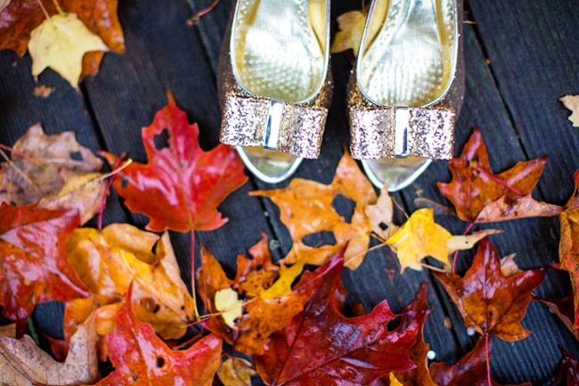Gold Bridal shoes in leaves