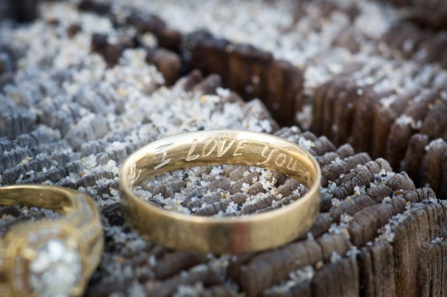 inscribed gold wedding band