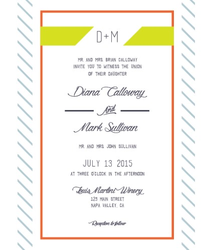 Green, blue and orange striped wedding invitation