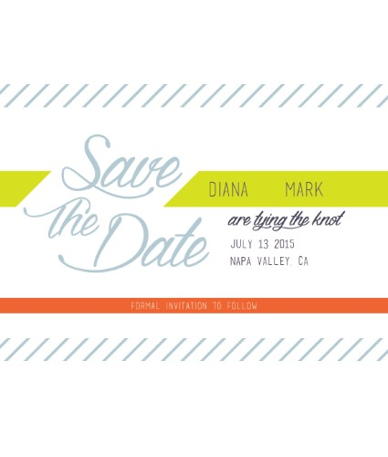 Green, blue and orange striped wedding save-the-date