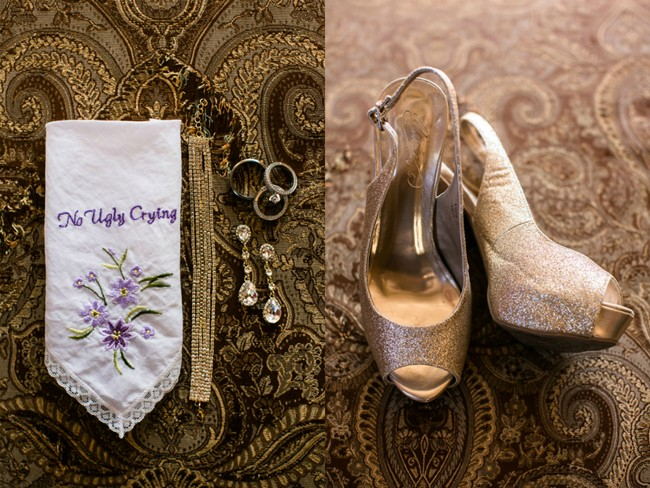 No ugly crying hanky with brides shoes