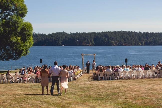 Outdoor wedding ceremony or orcas island  captured by aubrey joy photography