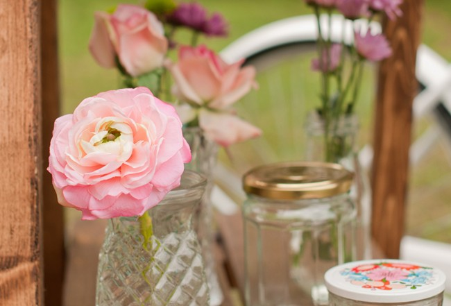 Pink flower in glass vase