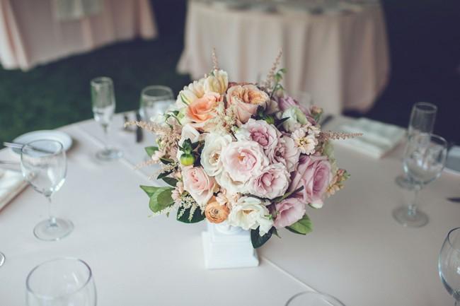 Pink, peach, white bridal flower boquet