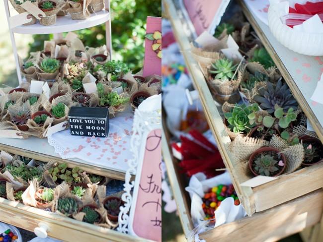 Succulents wedding favors  captured by aubrey joy photography