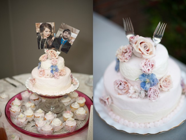 Wedding cake with bride and groom engagement photo as cake topper