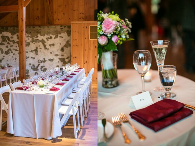 Wedding reception table with maroon colored napkins