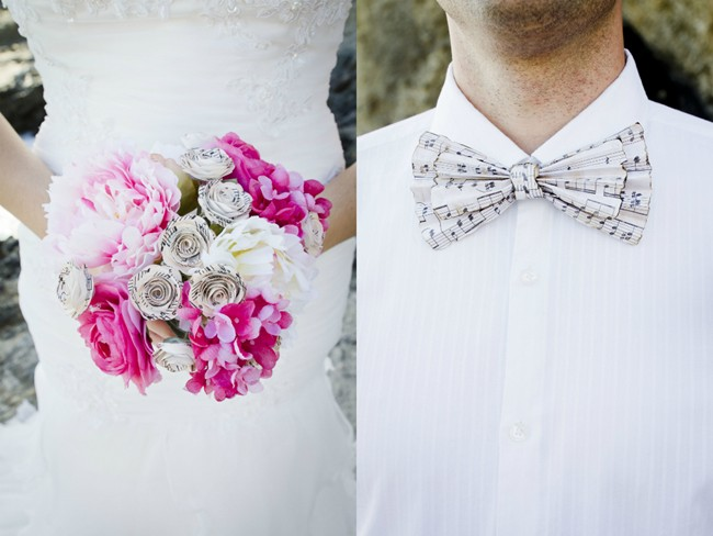 White and pink paper bouquet and paper bow tie