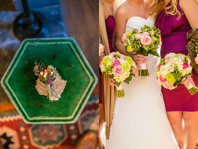 bride and bridesmaids with green and pink bouquets and boutiniere