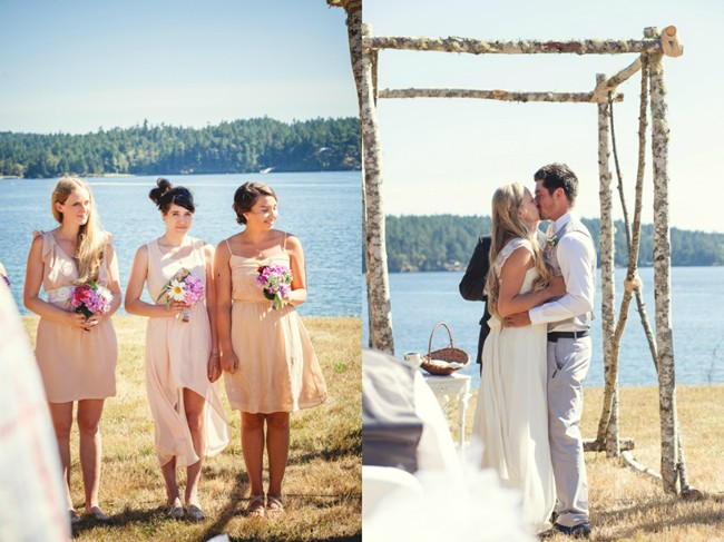 bride and groom kissing during wedding ceremony or orcas island  captured by aubrey joy photography