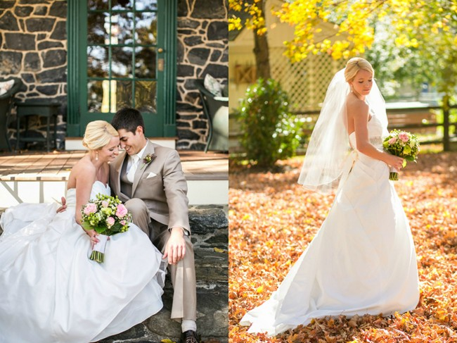 bride and groom standing in fall leaves