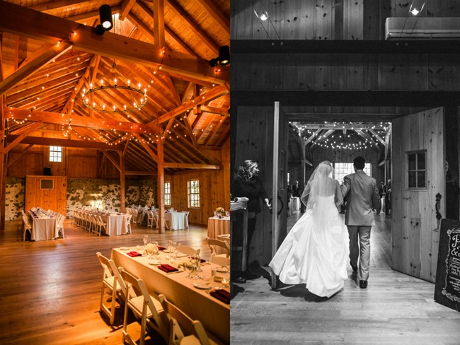 bride and groom walking into reception hall at Sweetwater Farm Grace Winery
