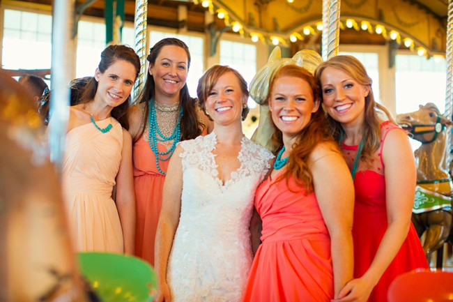 bride with her bridesmaids in peach color