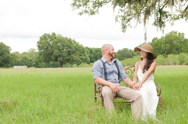 brie and groom sitting on bench